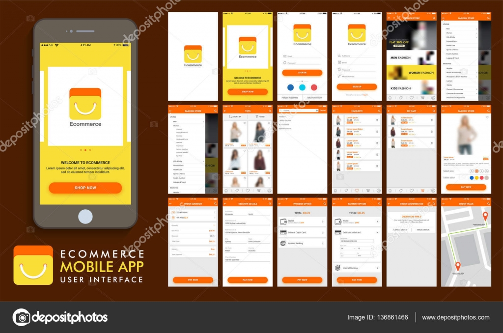 E commerce online shopping ui ux and gui template layout for Onlineshop design mobel