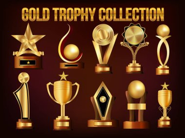 Set of Golden Trophy Cups and Awards.