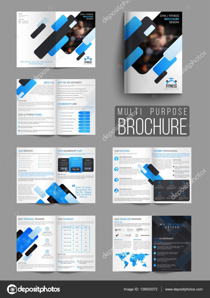 Gym Or Fitness Brochure Template Or Flyer  Stock Vector