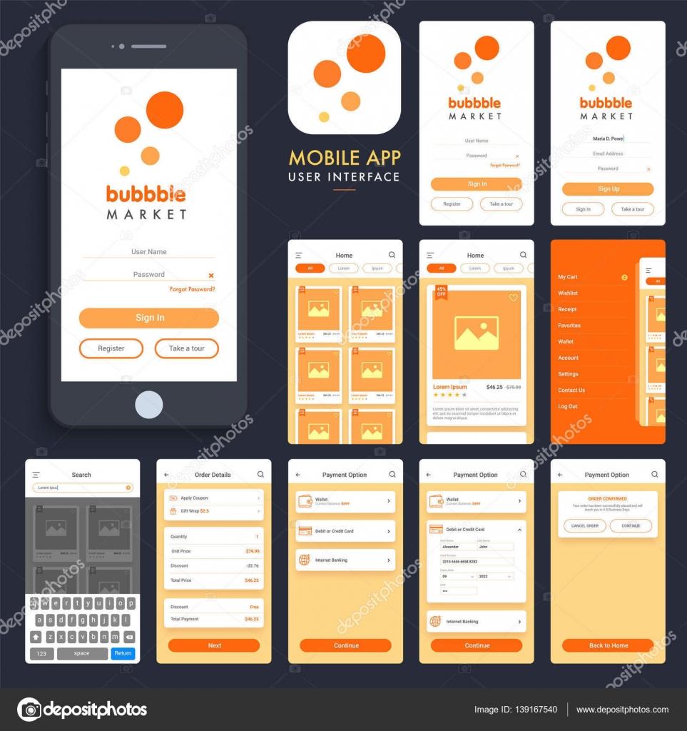 Compras en l nea de interfaz de usuario de la aplicaci n for Compra online mobili