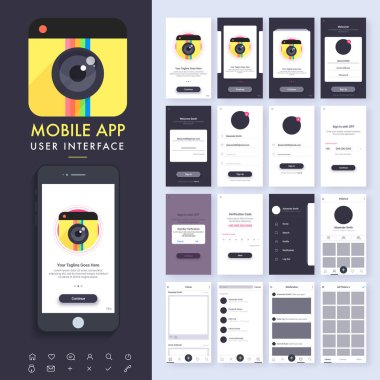Mobile App UI, UX, GUI kit and Flat Web Symbols with Sign In, Sign Up, Verification, Menu, Profile, Home, Notification and Gallery Screens. stock vector