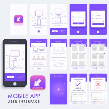 Mobile App Material Design, UI, UX Kit.