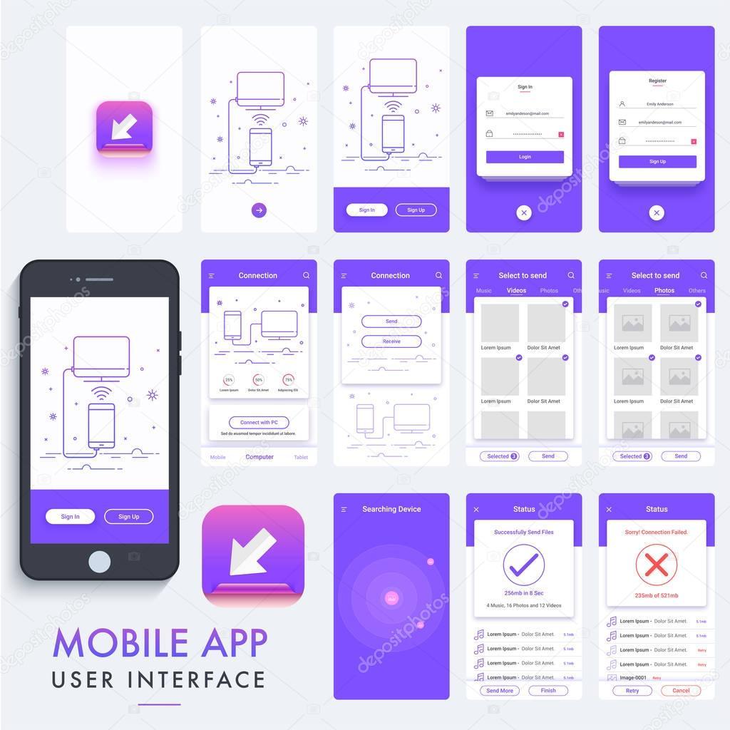 Mobile App Character Design : 모바일 애플 리 케이 션 소재 디자인 ui ux 키트 — 스톡 벡터 alliesinteract