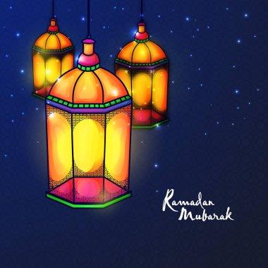 Illuminating lanterns on black background.