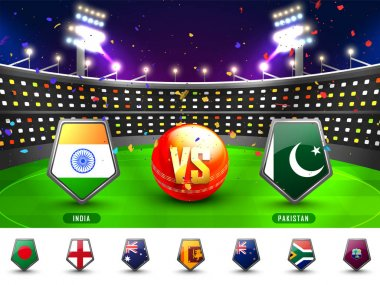 Cricket Match Participating Countries Flag Shields.