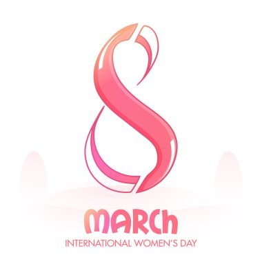 Creative Text 8 March for Women's Day Celebration.