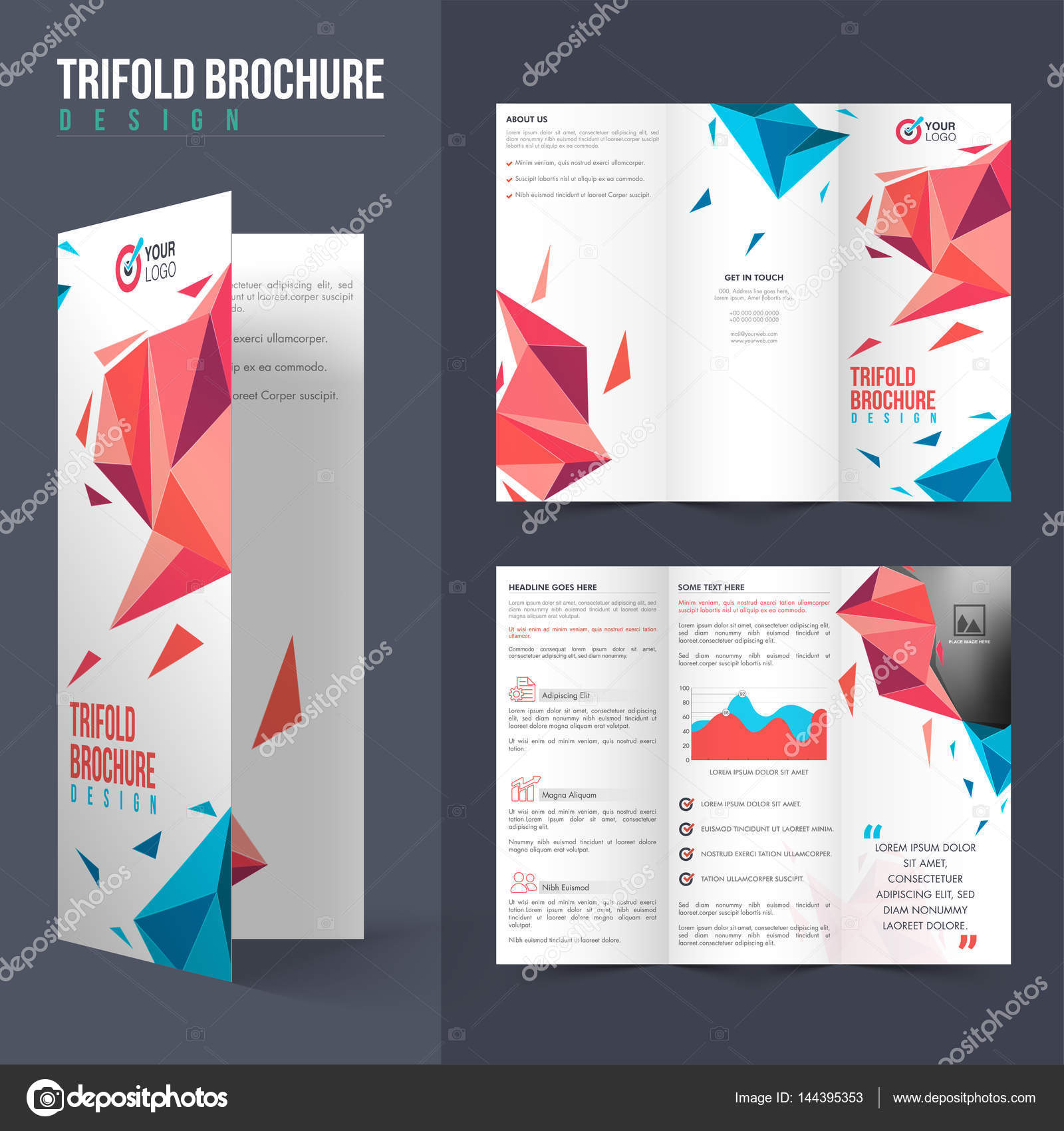 creative professional tri fold brochure for business stock vector
