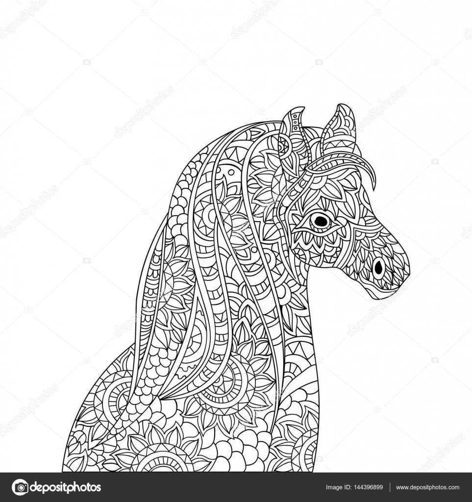 Afbeelding Papegaai Kleurplaat Hand Getekend Floral Paard Met Etnische Doodle Patroon