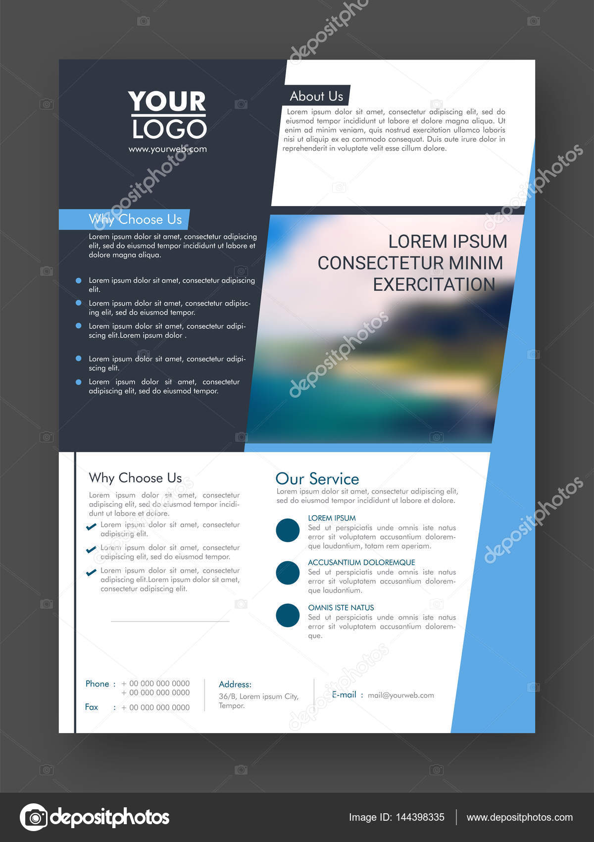 one page professional business flyer or pamphlet   u2014 stock