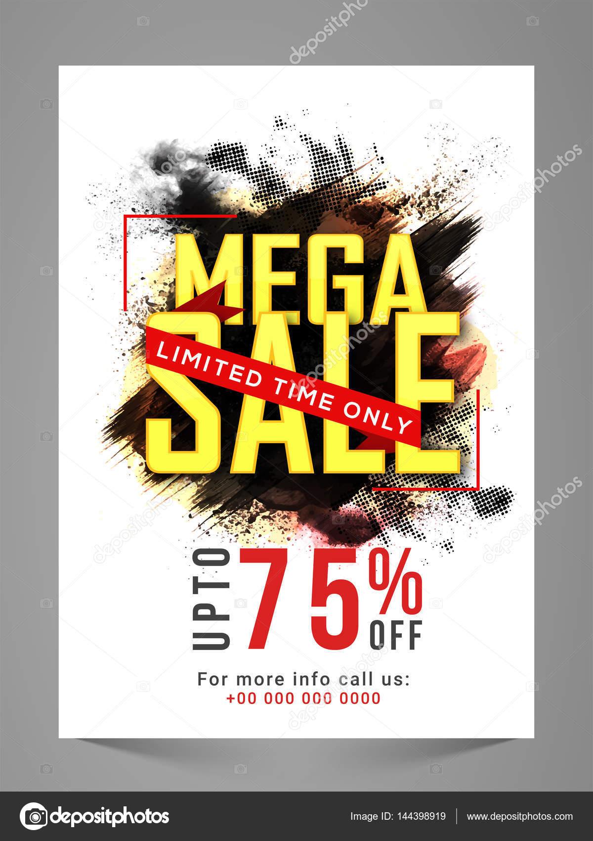 Mega Sale Flyer, Banner, Poster or Pamphlet  — Stock Vector