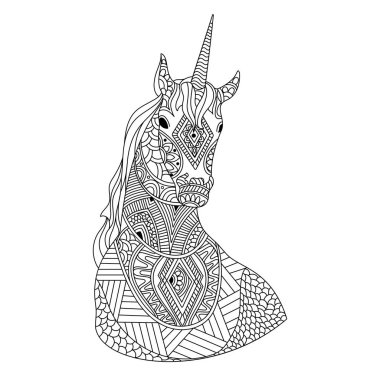 Hand drawn doodle illustration of Unicorn.