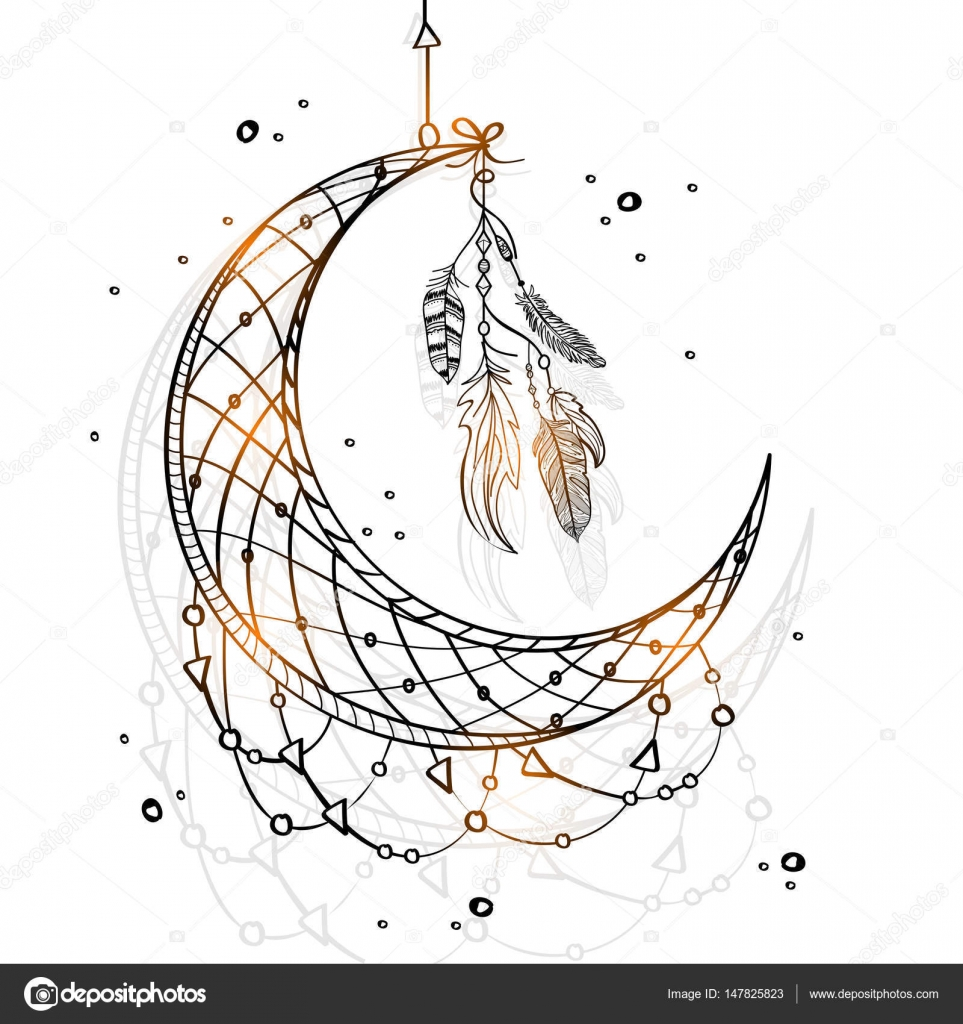 Áˆ Crescent Moon With Flowers Stock Drawings Royalty Free Crescent Moon Pictures Download On Depositphotos