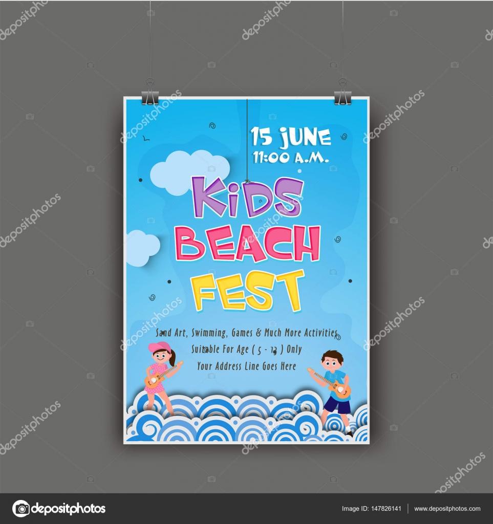 Niños playa Fest plantilla, Banner, Flyer o invitación — Vector de ...