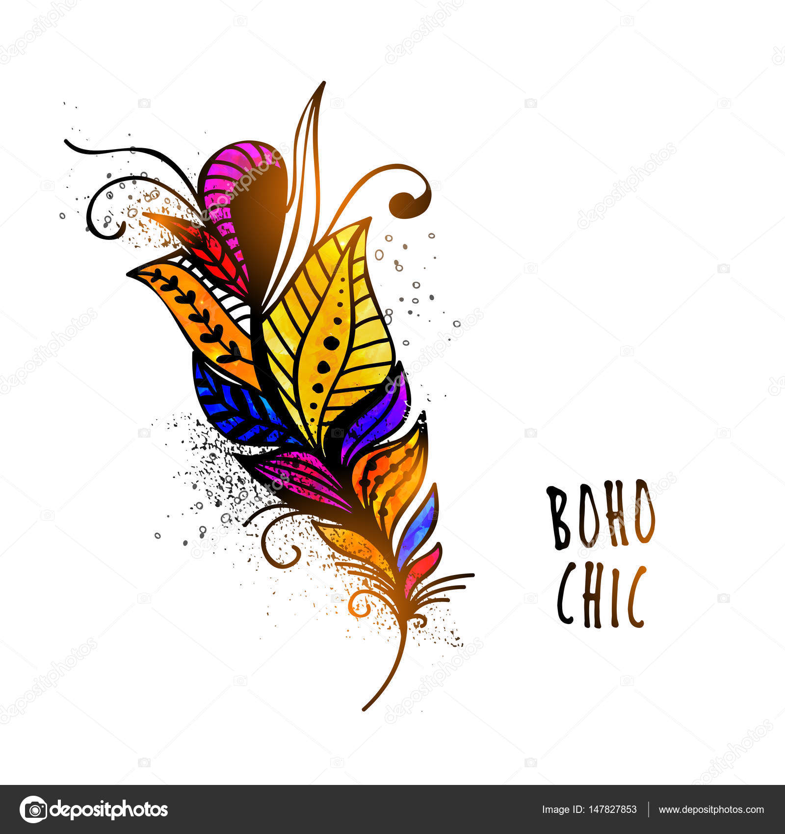 5950956521c Colorful ethnic decorative Feather with floral design. Creative hand drawn  Boho style element.
