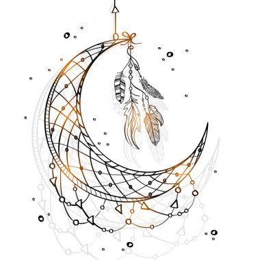 Hand drawn Dream Catcher with Crescent Moon.