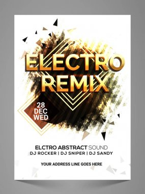 Electro Remix, Stylish Musical Party Flyer.