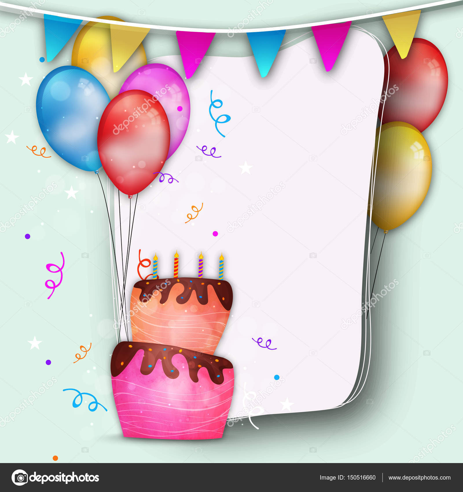 Happy birthday background with cake stock vector alliesinteract happy birthday background decorated with cake colorful balloons and buntings elegant greeting or invitation card design with space for your text stopboris Choice Image