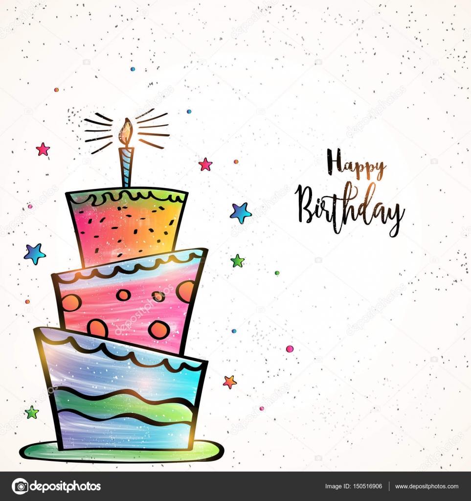Happy Birthday Card Design Mit Handgezeichneten Bunte Grosse Kuchen Und Sterne Dekoration Vektor Von