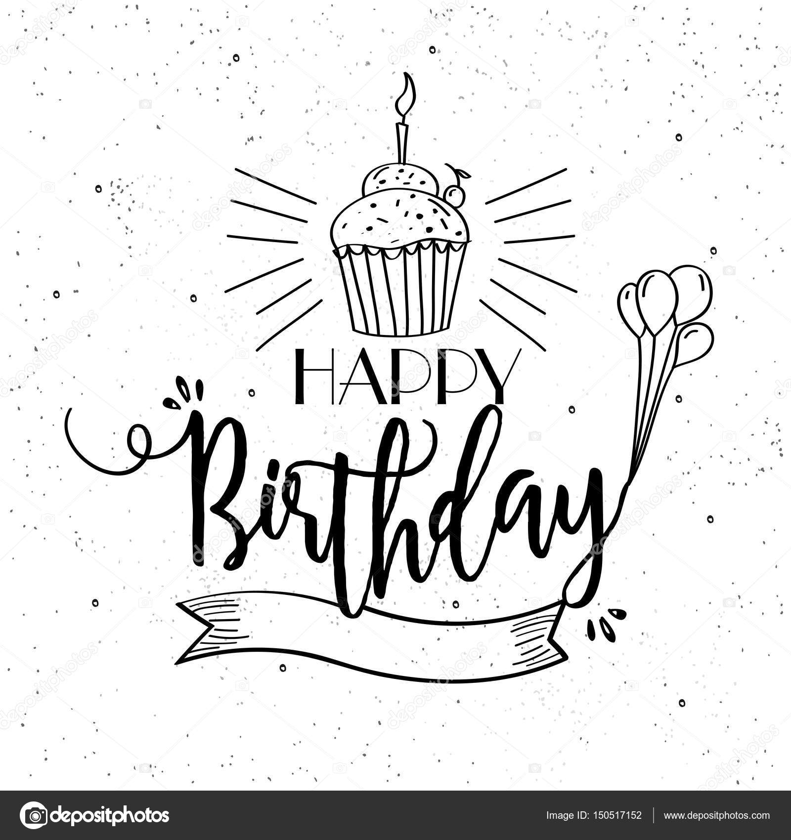 Prime Drawing Birthday Cards Hand Drawn Happy Birthday Card Design Personalised Birthday Cards Bromeletsinfo
