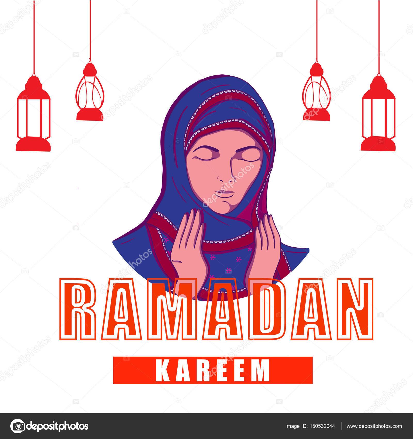 Greeting Card with Praying Woman for Ramadan Kareem  — Stock Vector
