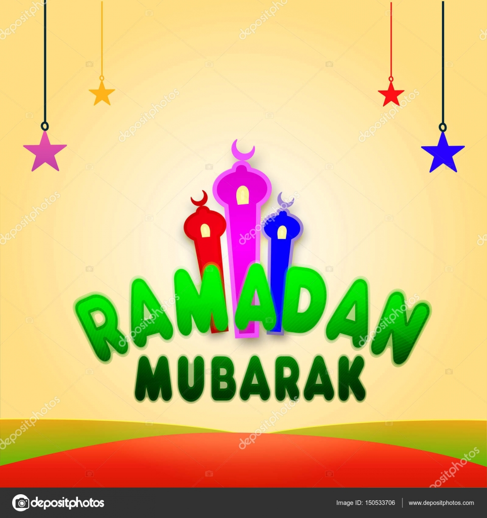 Greeting card for ramadan kareem celebration stock vector glossy green text ramadan mubarak with mosque and hanging stars ramadan kareem greeting card design beautiful islamic background concept for holy month m4hsunfo