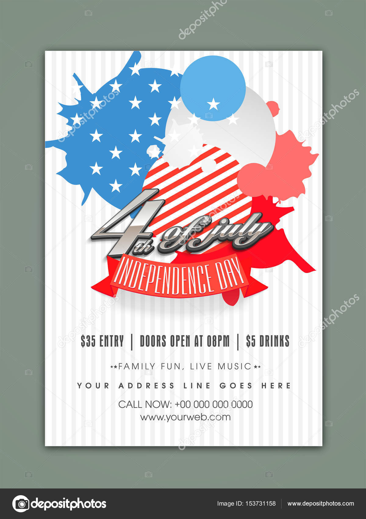 american flag colors abstract design decorated template banner or flyer for 4th of july independence day celebration vector by alliesinteract