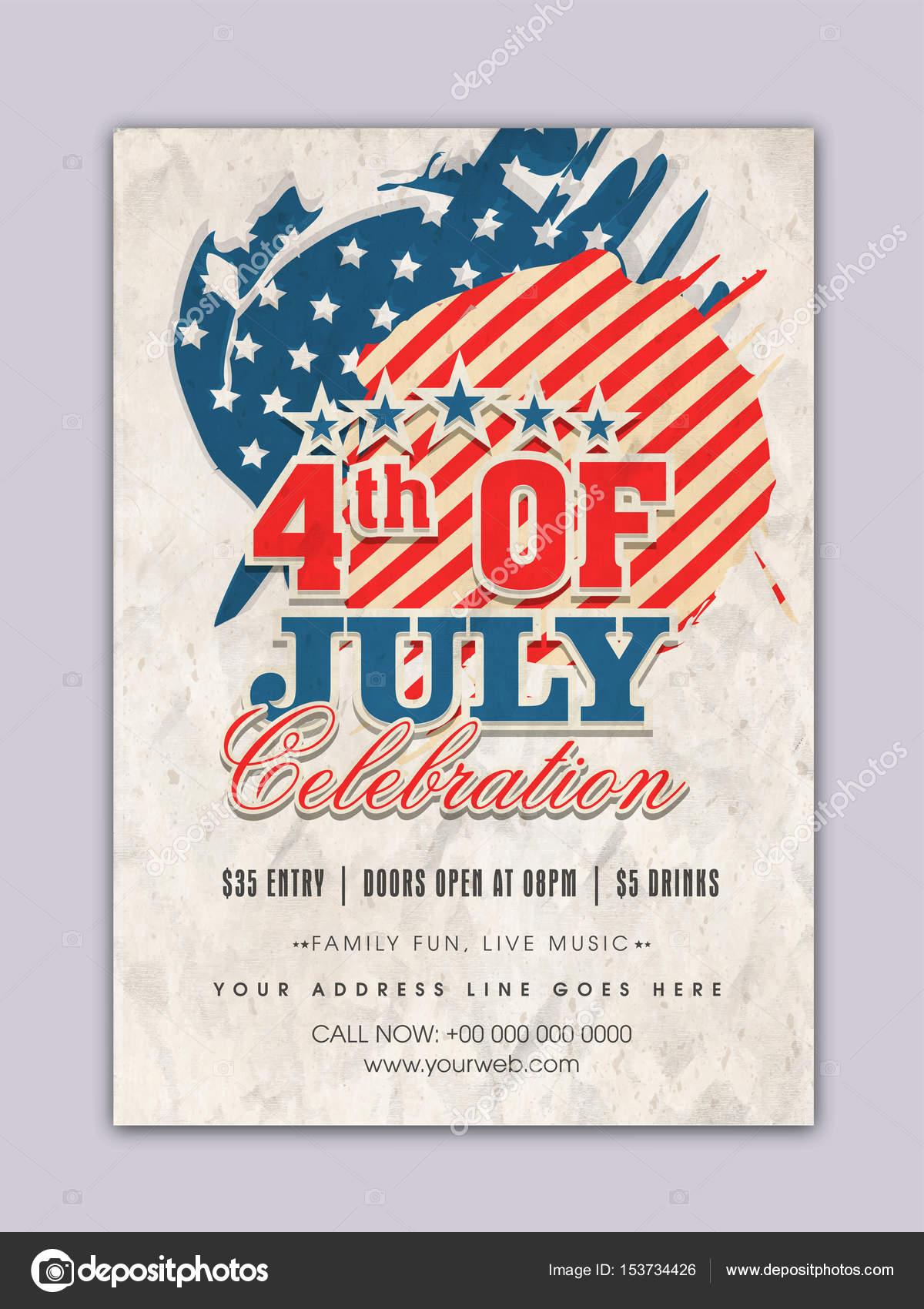 Vintage Schablone, Banner für 4. Juli Feier — Stockvektor ...