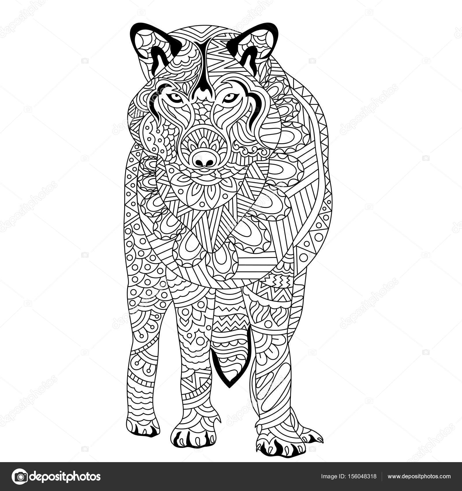 hand drawn wolf in doodle style stock vector