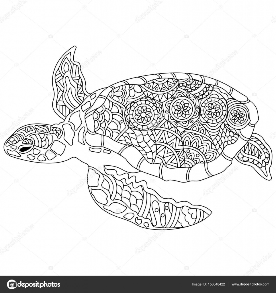 Hand gezeichnet doodle Schildkröte oder Schildkröte mit Blumenmuster ...