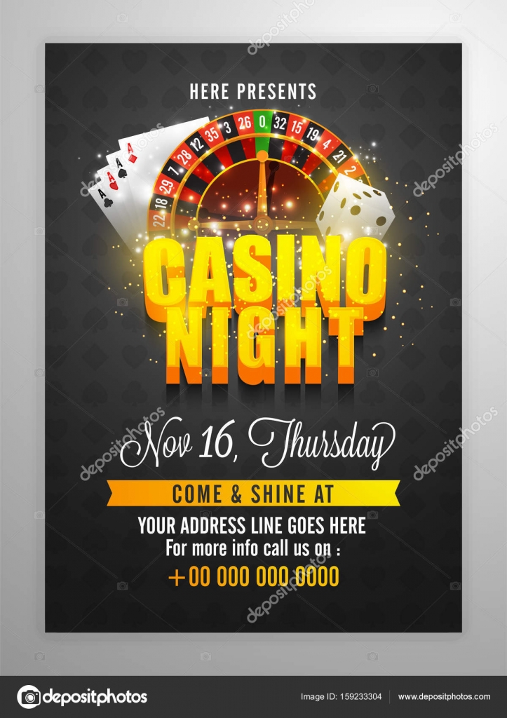 Casino Night Flyer With 3d Lettering And Roulette Wheel Stock