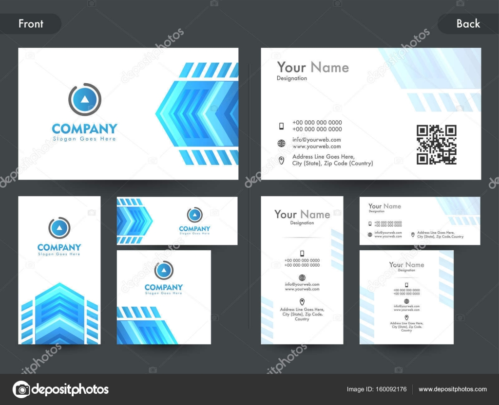 Creative business or visiting card with abstract element stock creative business card or visiting card layout with blue abstract geometric element front and back page presentation vector by alliesinteract reheart Images