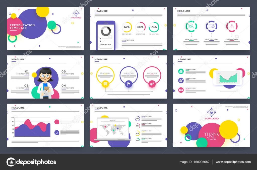 Vorlagen für Präsentationsfolien mit Infografiken — Stockvektor ...