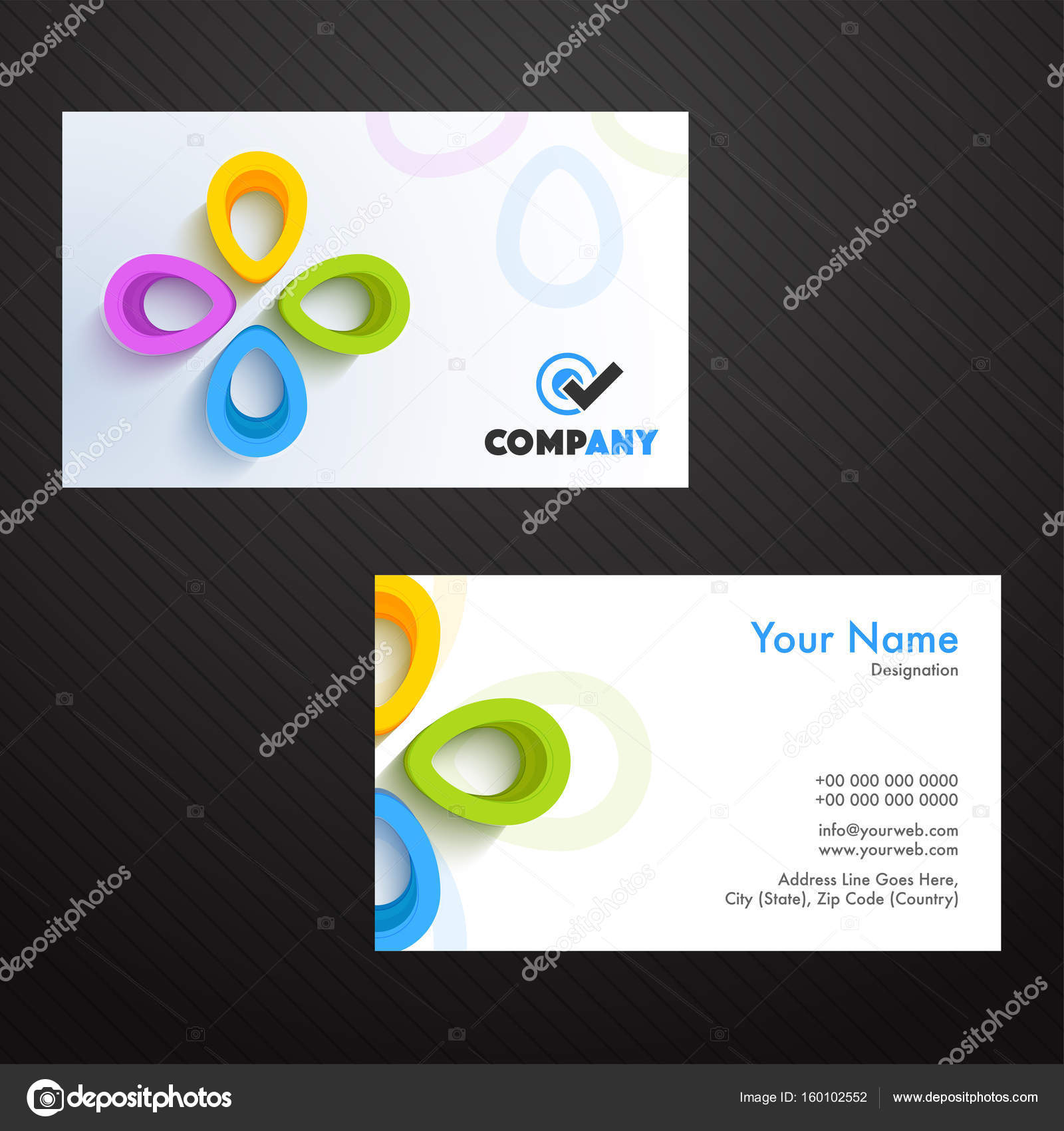 Business card or visiting card with 3d abstract element stock business card or visiting card with 3d abstract element stock vector colourmoves