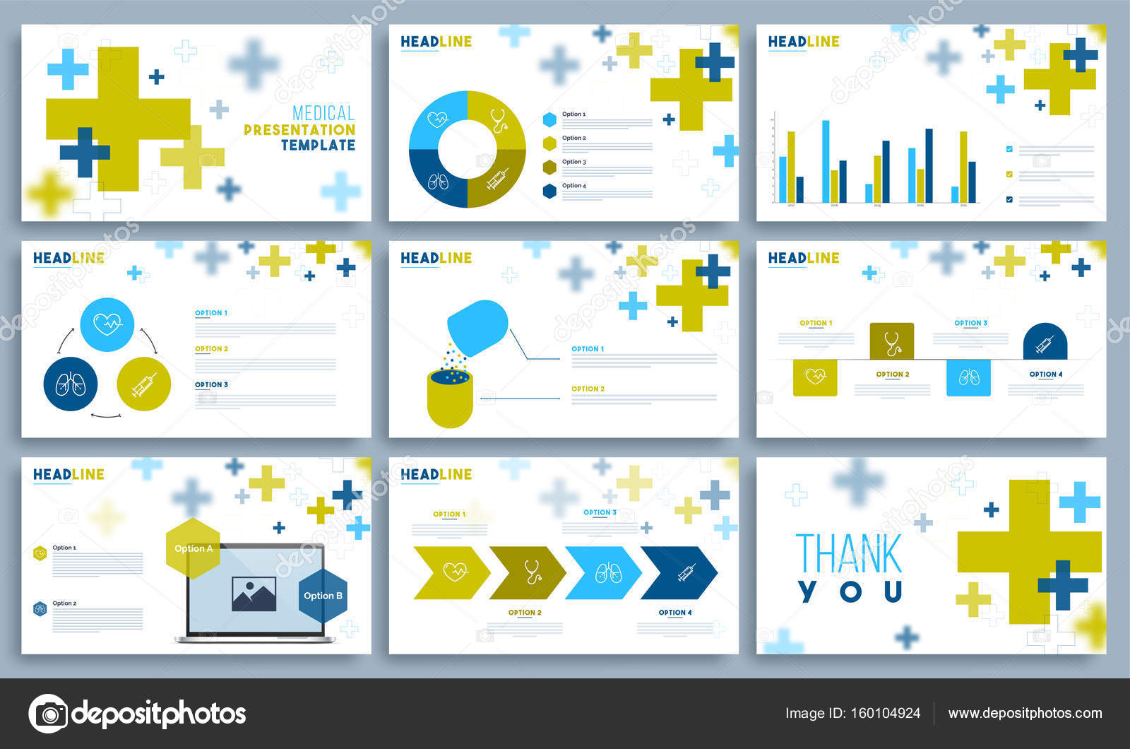 medical presentation template set stock vector alliesinteract