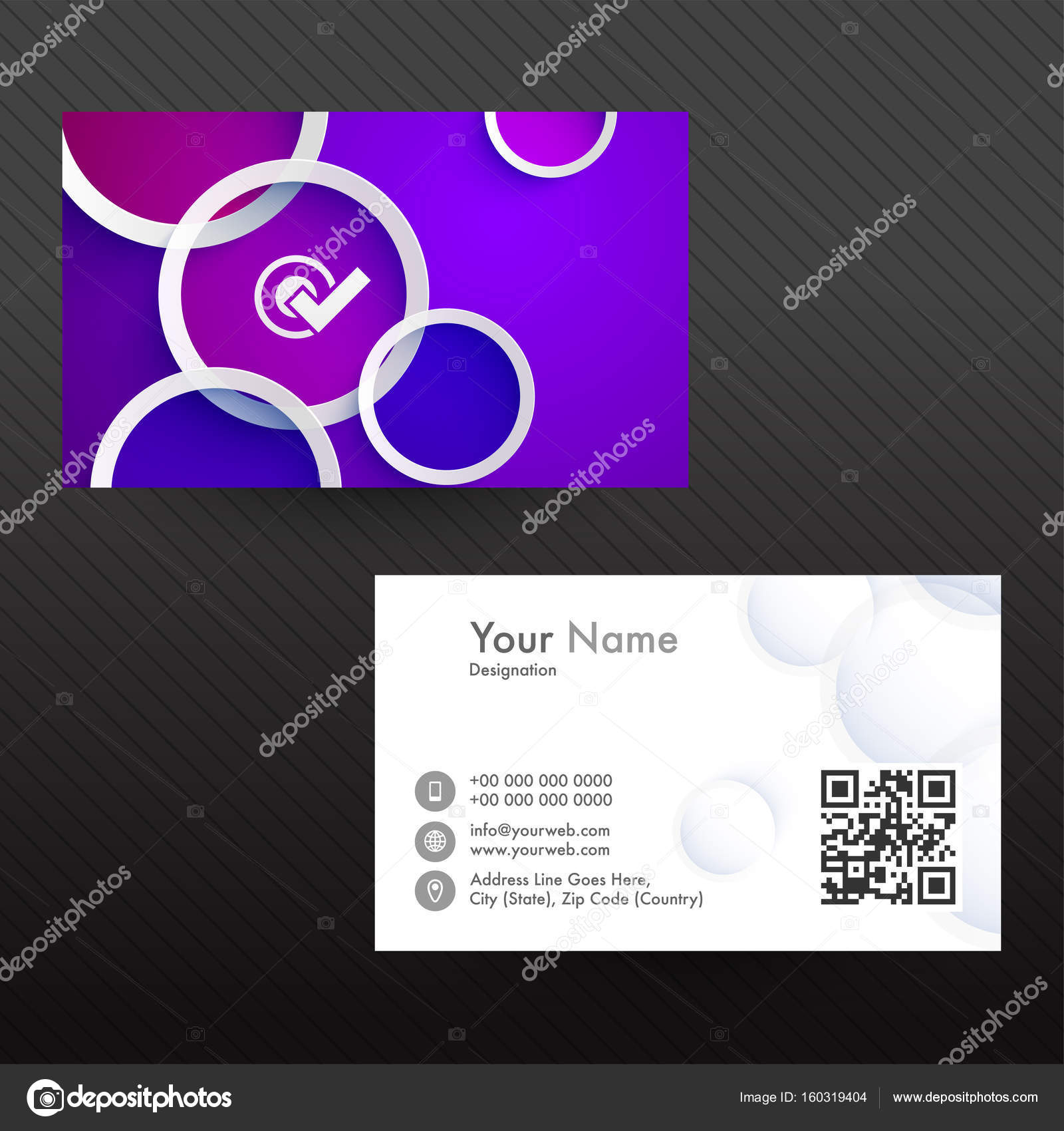 Creative Business Card in purple and white colors. — Stock Vector ...