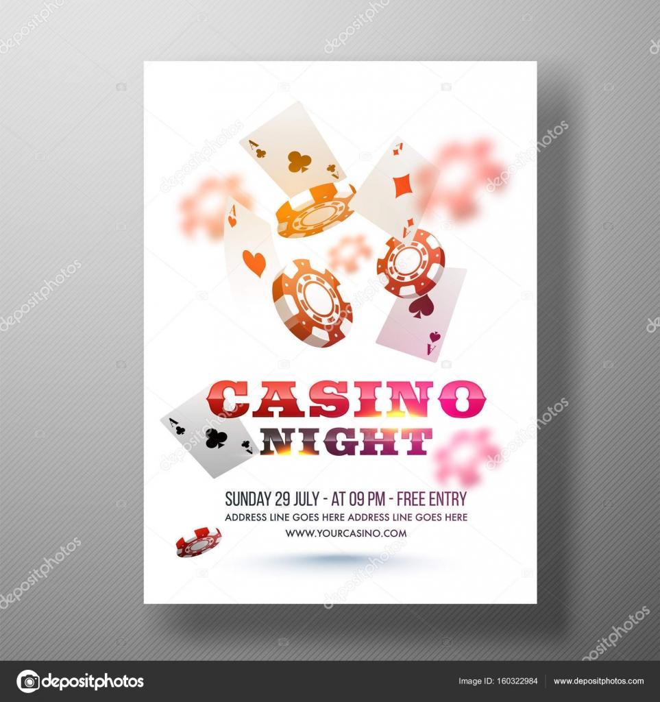 Diseño de Flyer noche de Casino, plantilla o Banner — Vector de ...