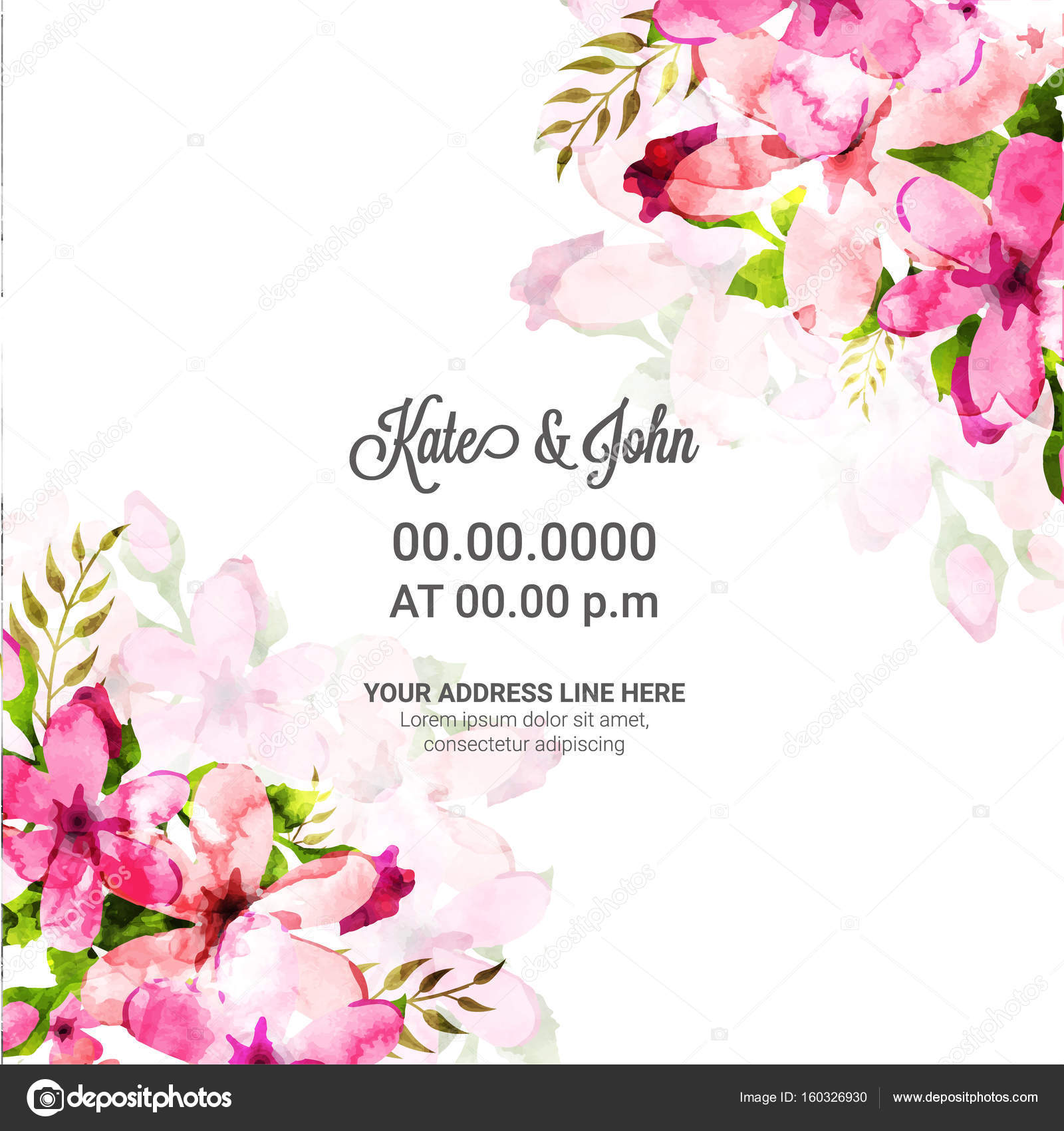 Wedding Invitation Card With Pink Watercolor Flowers Stock Vector