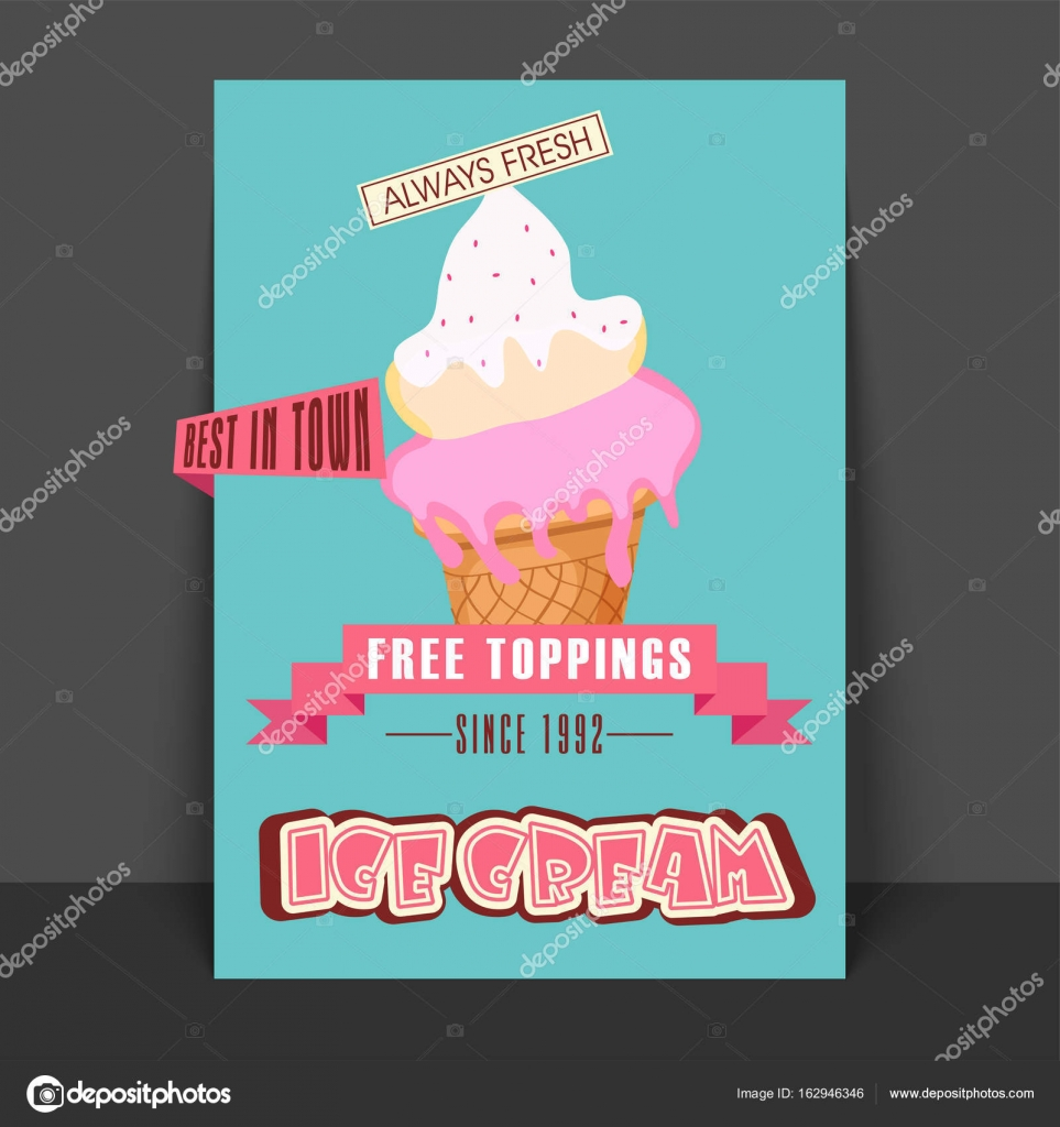 ice cream flyer template or banner design stock vector
