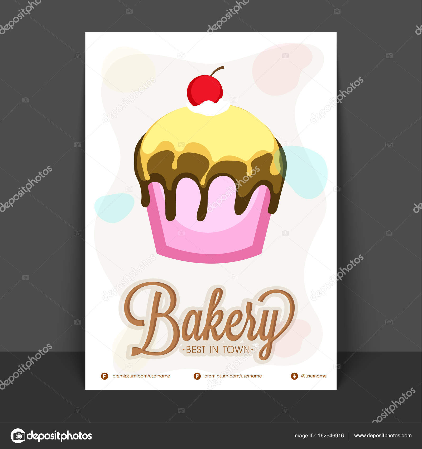 Bakery Flyer Template Design With Illustration Of Sweet Delicious Cupcake Vector By Alliesinteract