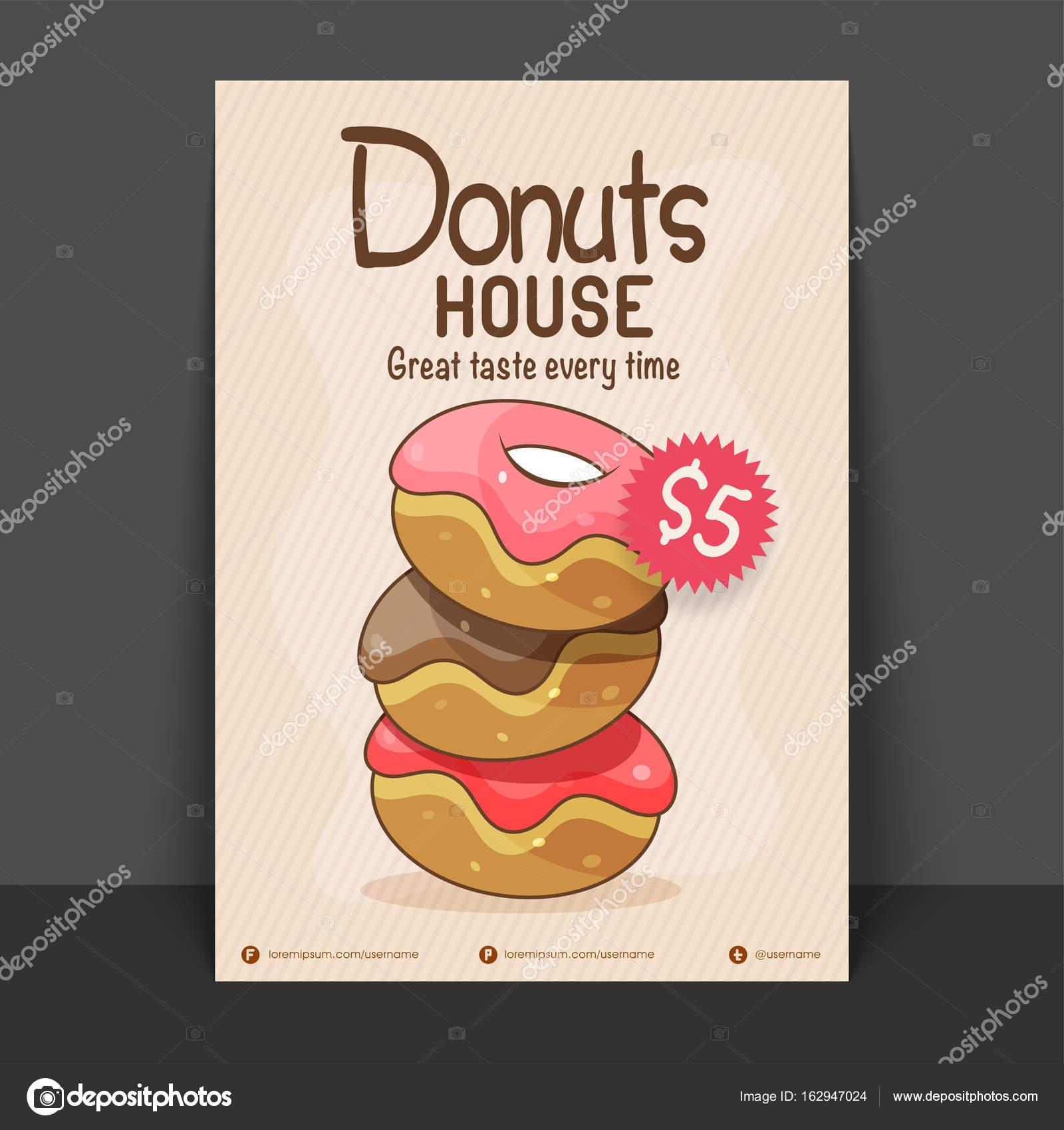 Donut-Haus-Flyer, Vorlage oder Preis Karte — Stockvektor ...