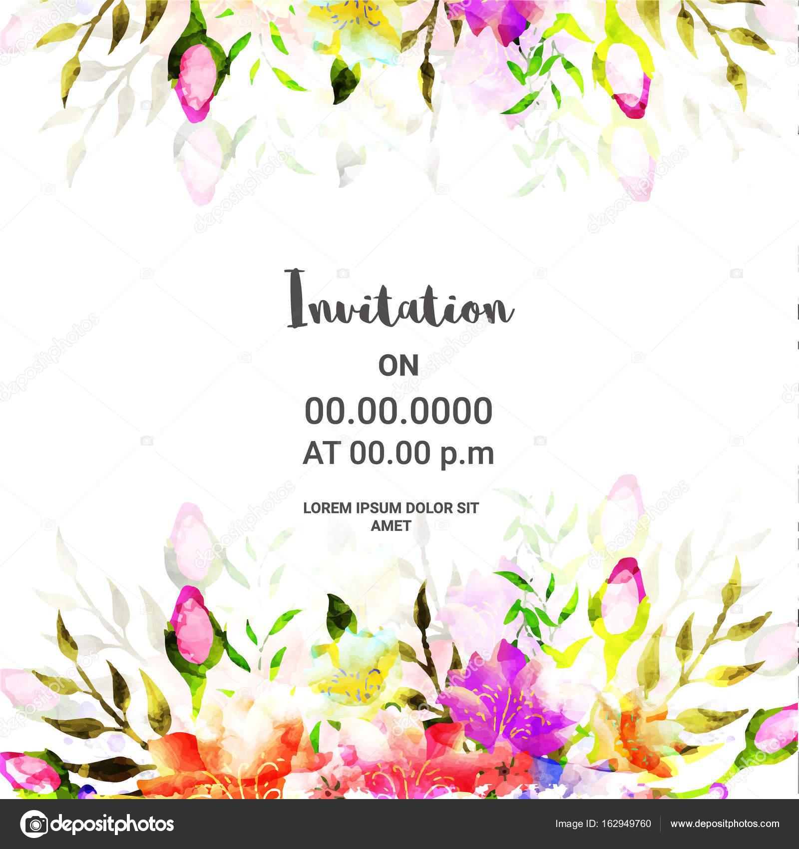 Conception De Cartes D Invitation Avec Fleurs Colorées Image