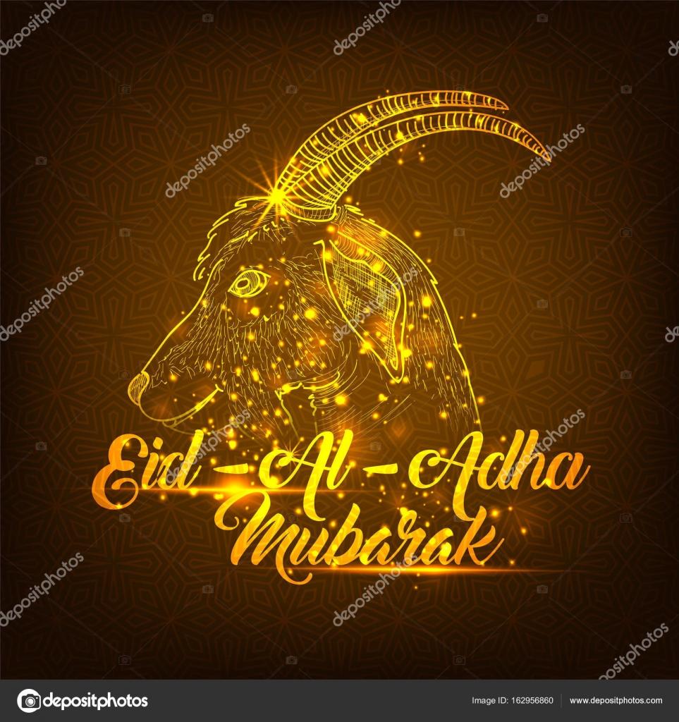 Golden Illustration Of Goat Face For Eid Al Adha Mubarak Stock