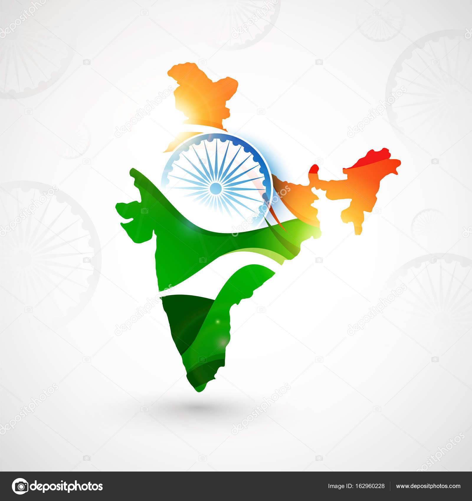 Republic of India Map in Indian Flag colors. — Stock Vector ... on indian print with flag, indian map with key, indian man with flag, india flag,