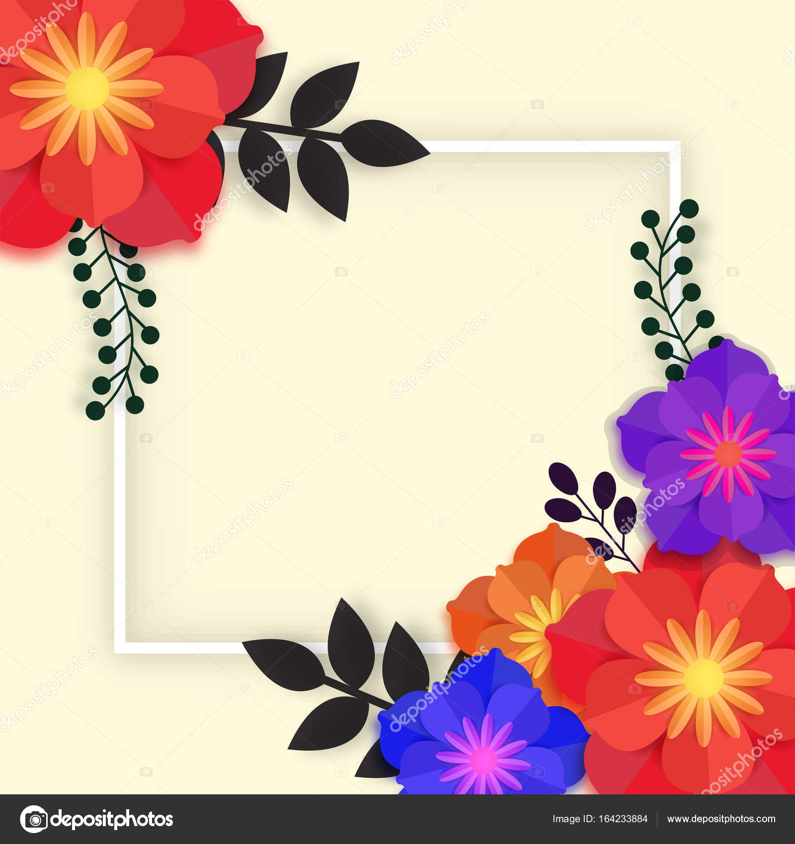 Beautiful Paper Flowers With Frame Stock Vector Alliesinteract