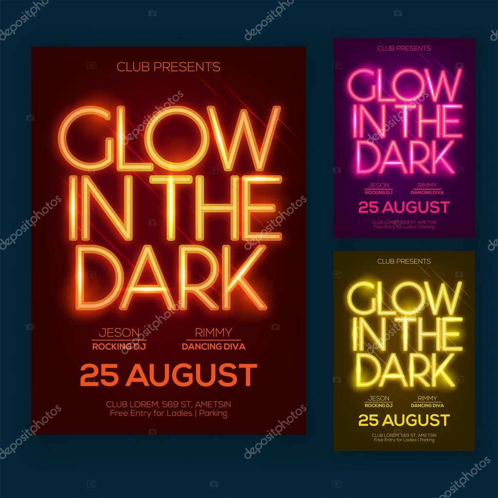 Nacht Party Flyer Oder Poster Design Mit Neontext Und Drei Diff