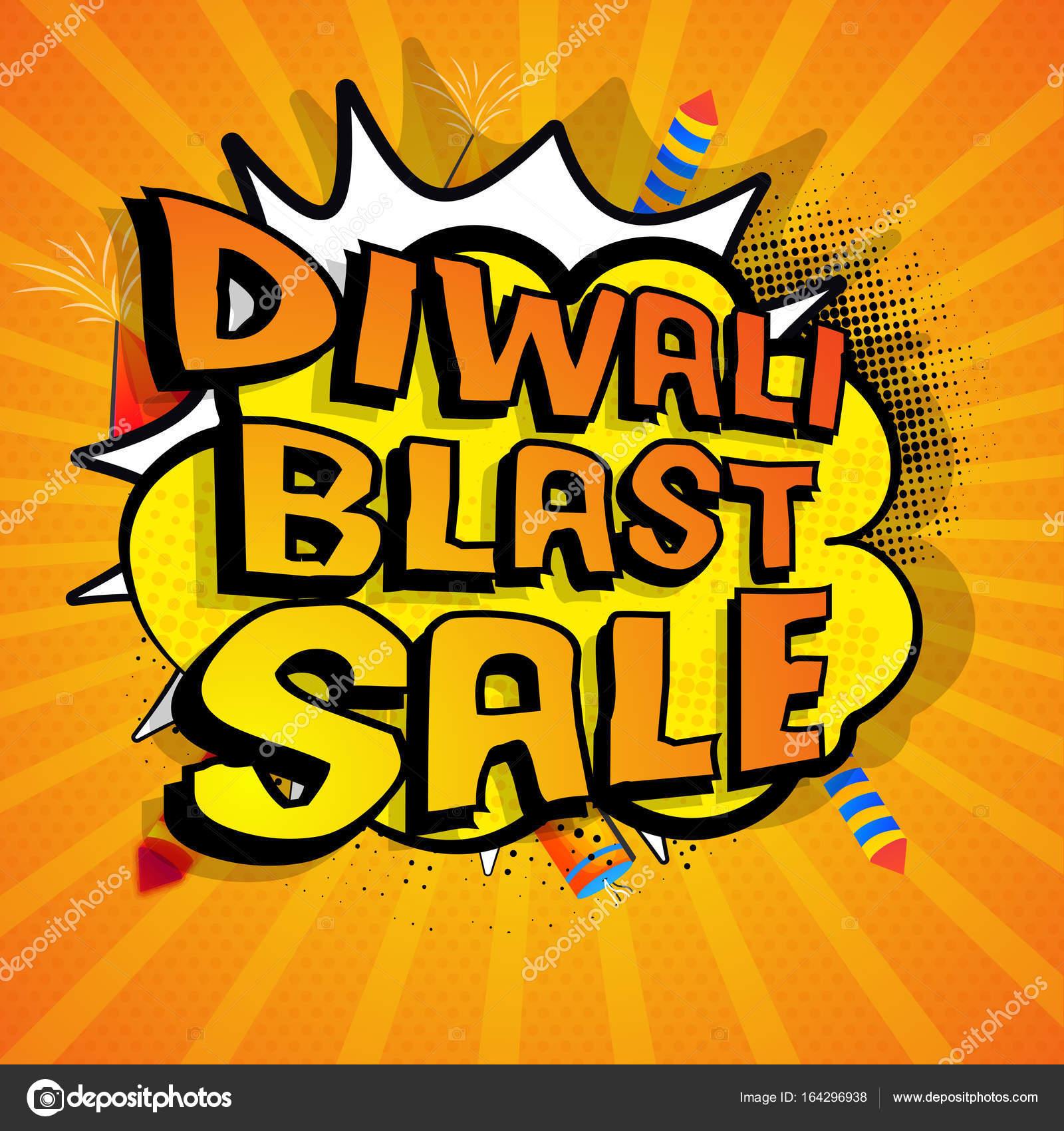 Diwali blast sale banner design, popart style  — Stock