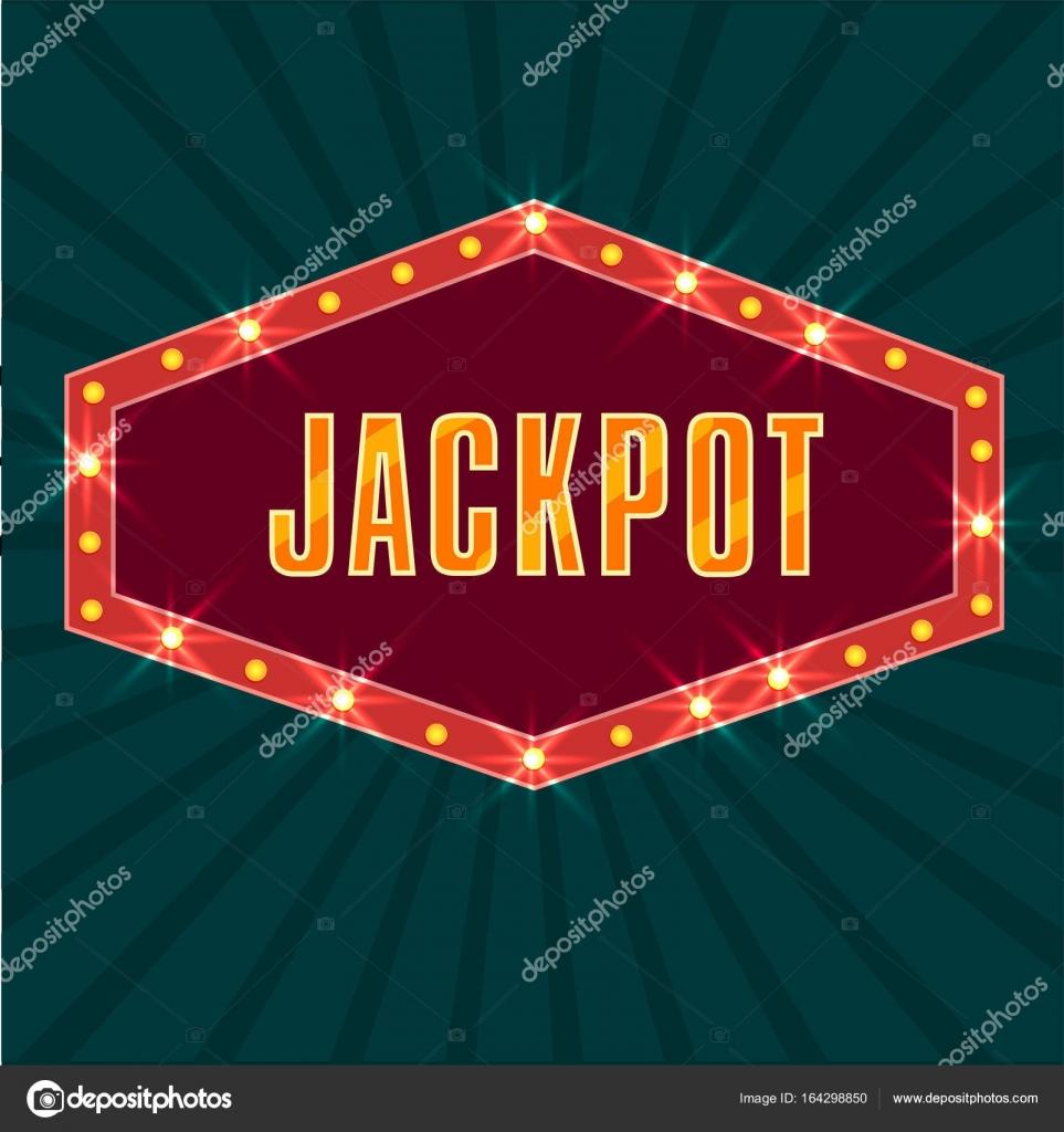 Jackpot-Text auf Festzelt Lichter Rahmen, Retro grün Strahlen ...