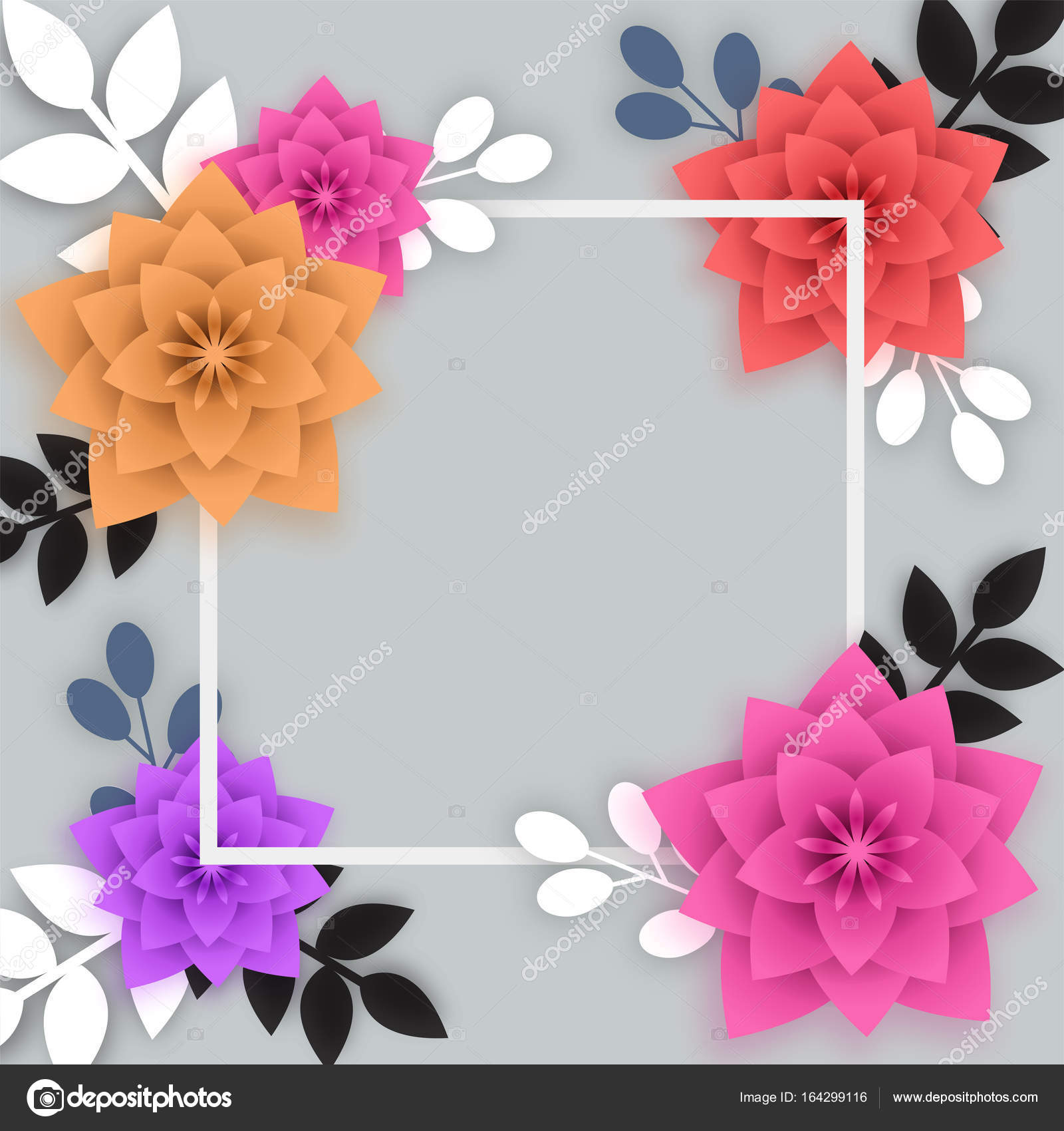 Colorful paper flowers with white square frame stock vector colorful paper flowers with white square frame stock vector mightylinksfo