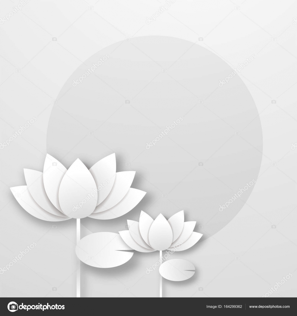 White Paper Lotus Flower On Abstract Background Stock Vector