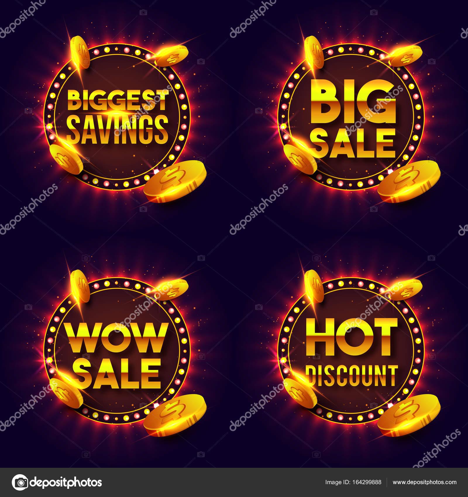 Luces de oro Letras de venta y descuento en retro marco — Vector de ...